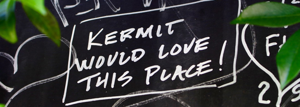 A message from a visitor on the blackboard : Kermitt would love this place !